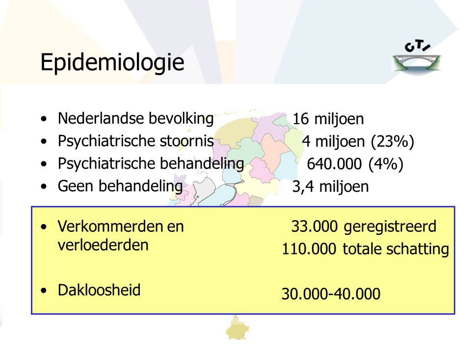Epidemiologie Nederlandse bevolking Psychiatrische stoornis