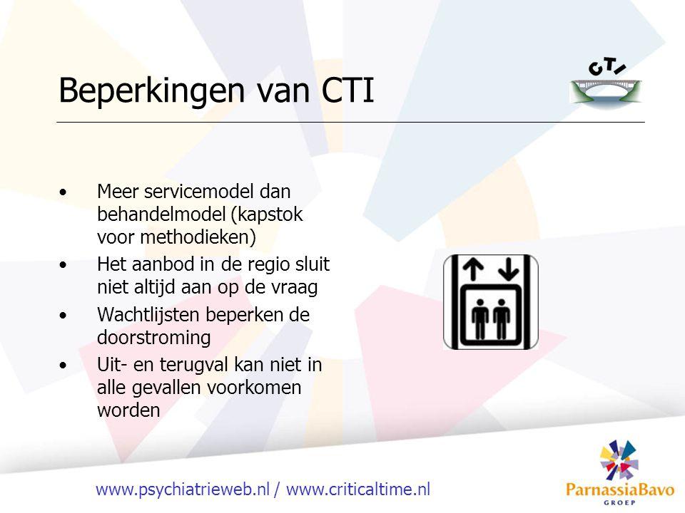 Beperkingen van CTI Meer servicemodel dan behandelmodel (kapstok voor methodieken) Het aanbod in de regio sluit niet altijd aan op de vraag.