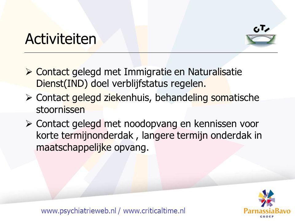Activiteiten Contact gelegd met Immigratie en Naturalisatie Dienst(IND) doel verblijfstatus regelen.
