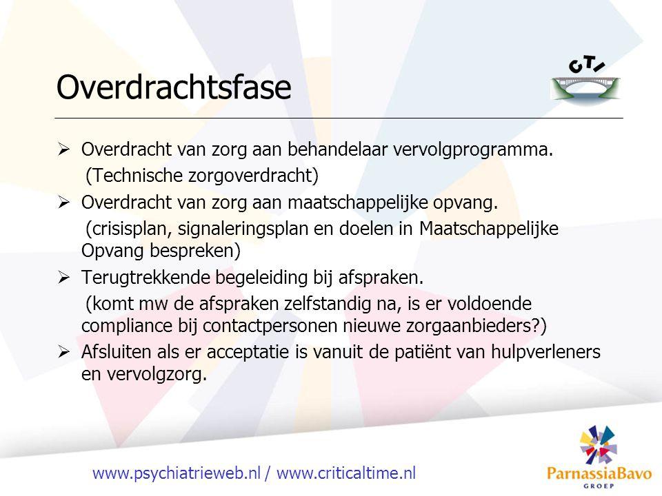 Overdrachtsfase Overdracht van zorg aan behandelaar vervolgprogramma.