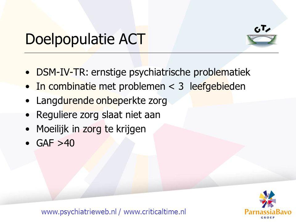 Doelpopulatie ACT DSM-IV-TR: ernstige psychiatrische problematiek