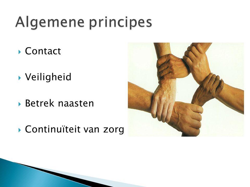 Algemene principes Contact Veiligheid Betrek naasten