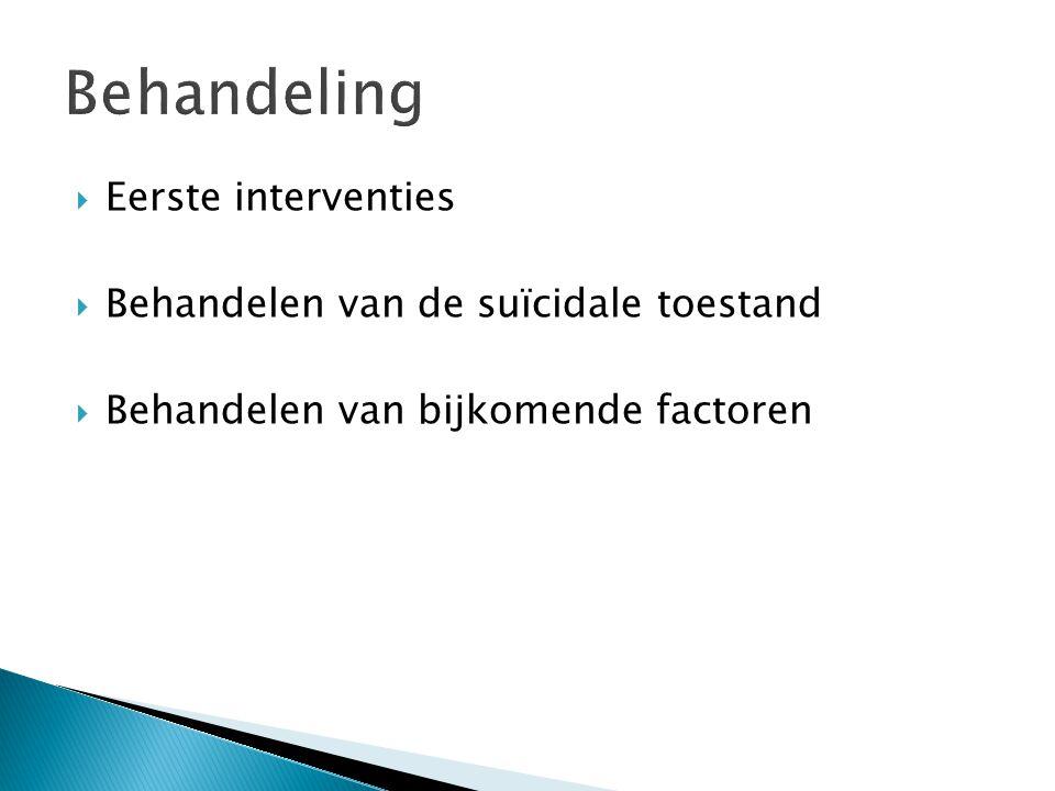 Behandeling Eerste interventies Behandelen van de suïcidale toestand