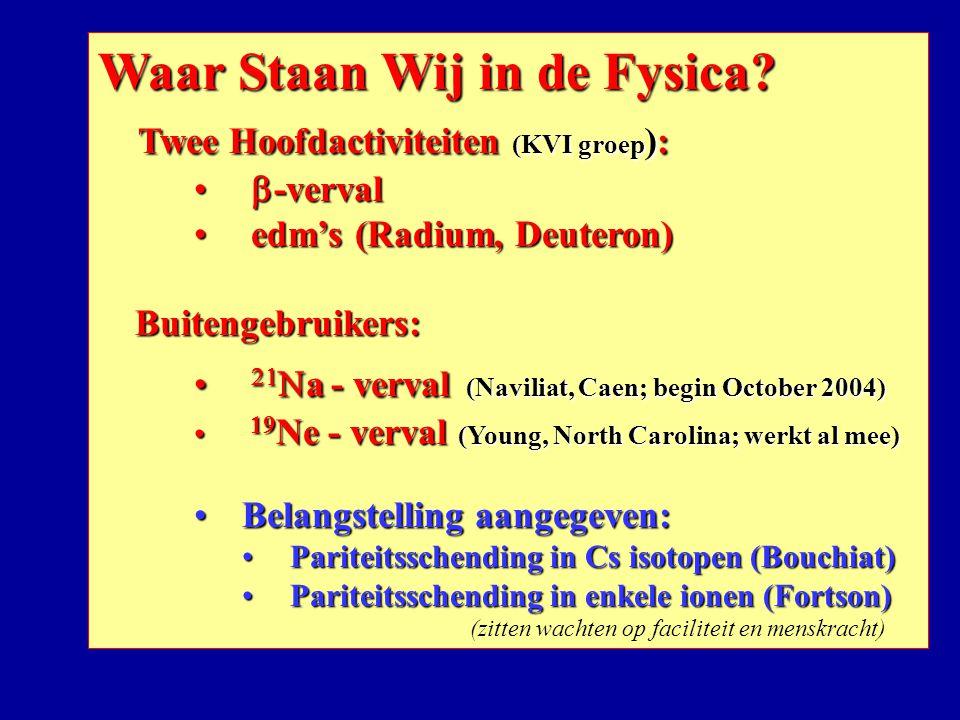 Waar Staan Wij in de Fysica Twee Hoofdactiviteiten (KVI groep):