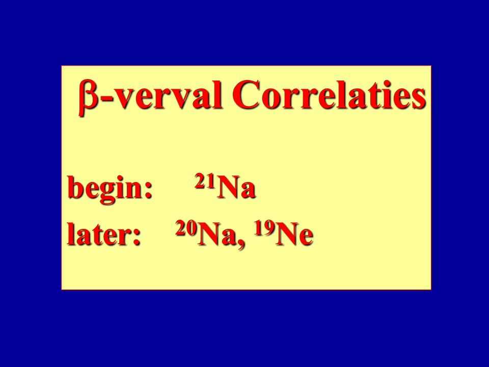 b-verval Correlaties begin: 21Na later: 20Na, 19Ne