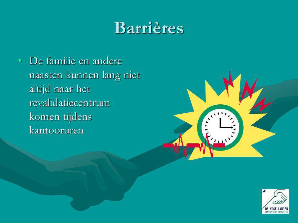 Barrières De familie en andere naasten kunnen lang niet altijd naar het revalidatiecentrum komen tijdens kantooruren.