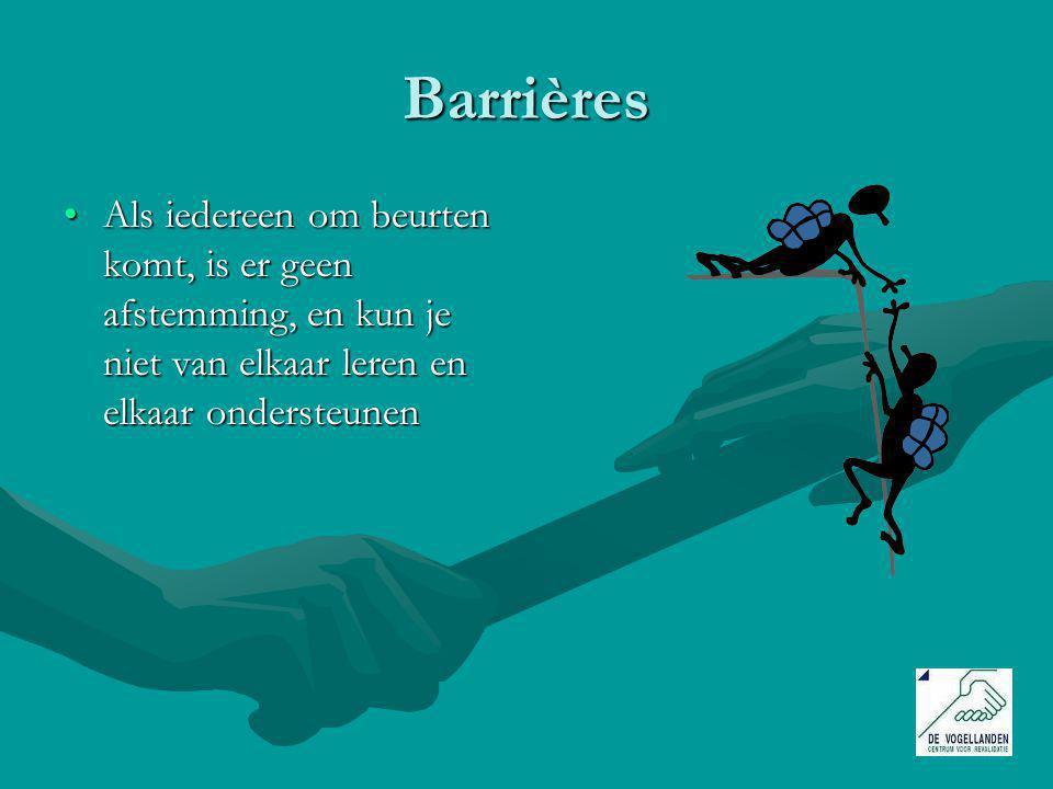Barrières Als iedereen om beurten komt, is er geen afstemming, en kun je niet van elkaar leren en elkaar ondersteunen.