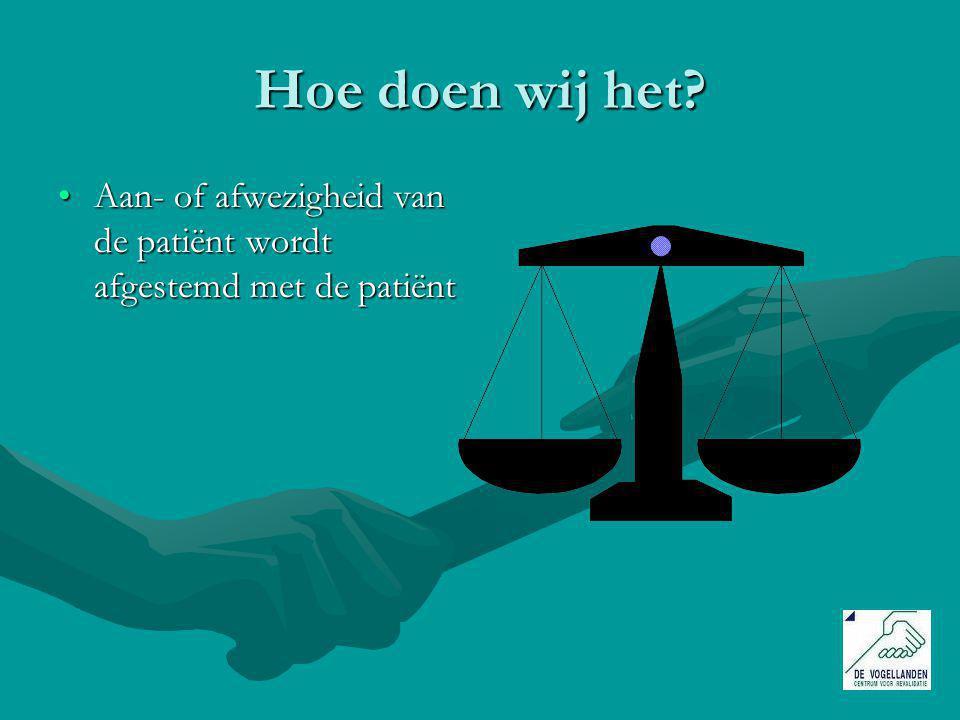 Hoe doen wij het Aan- of afwezigheid van de patiënt wordt afgestemd met de patiënt
