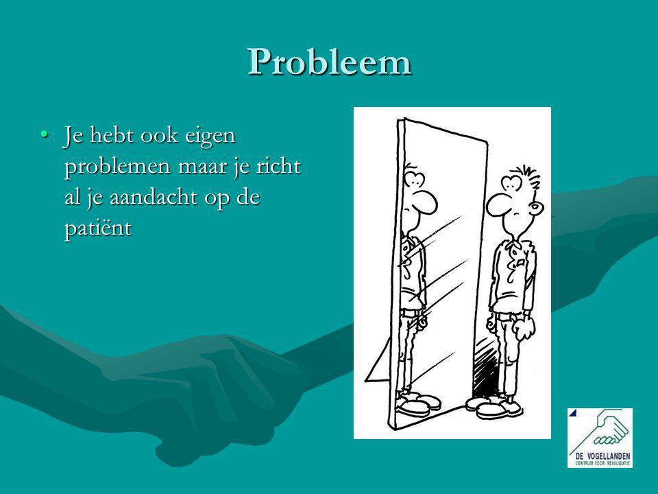 Probleem Je hebt ook eigen problemen maar je richt al je aandacht op de patiënt