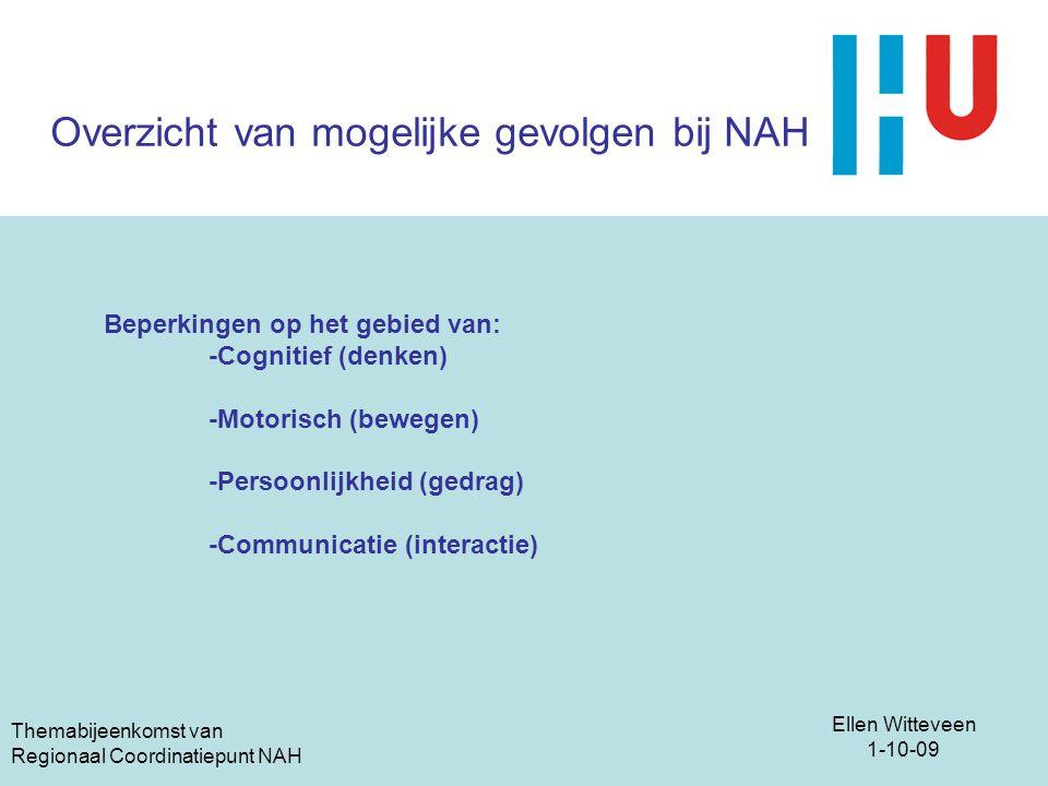 Overzicht van mogelijke gevolgen bij NAH