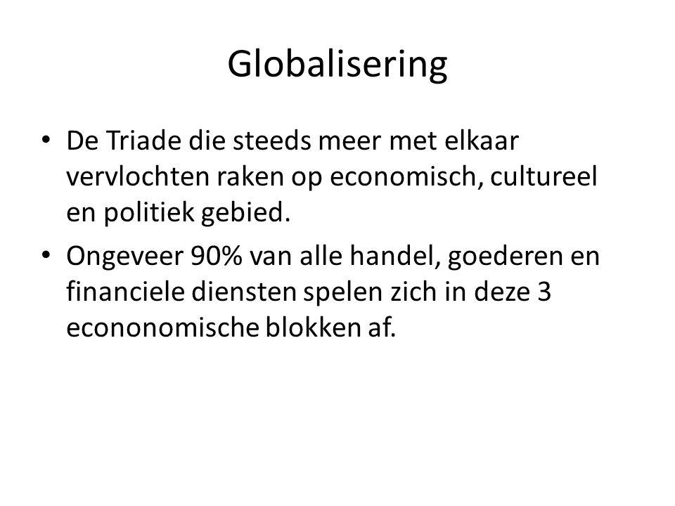 Globalisering De Triade die steeds meer met elkaar vervlochten raken op economisch, cultureel en politiek gebied.