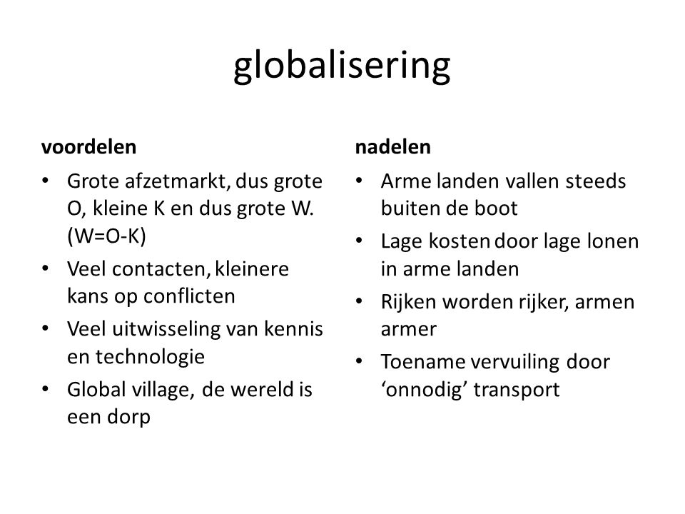 globalisering voordelen nadelen
