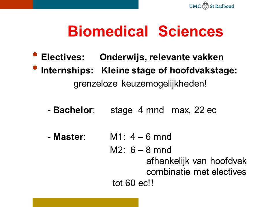 Biomedical Sciences Electives: Onderwijs, relevante vakken. Internships: Kleine stage of hoofdvakstage: