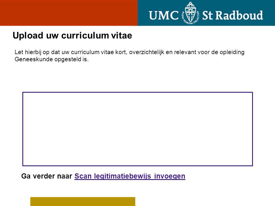 Upload uw curriculum vitae