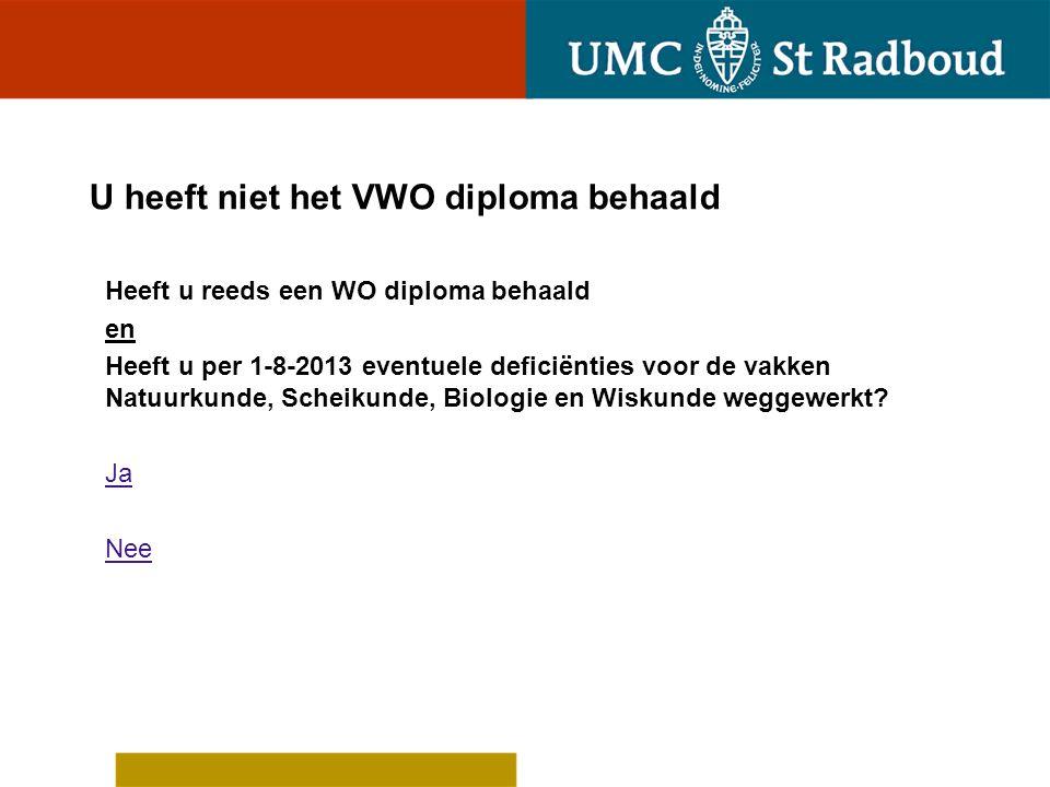 U heeft niet het VWO diploma behaald