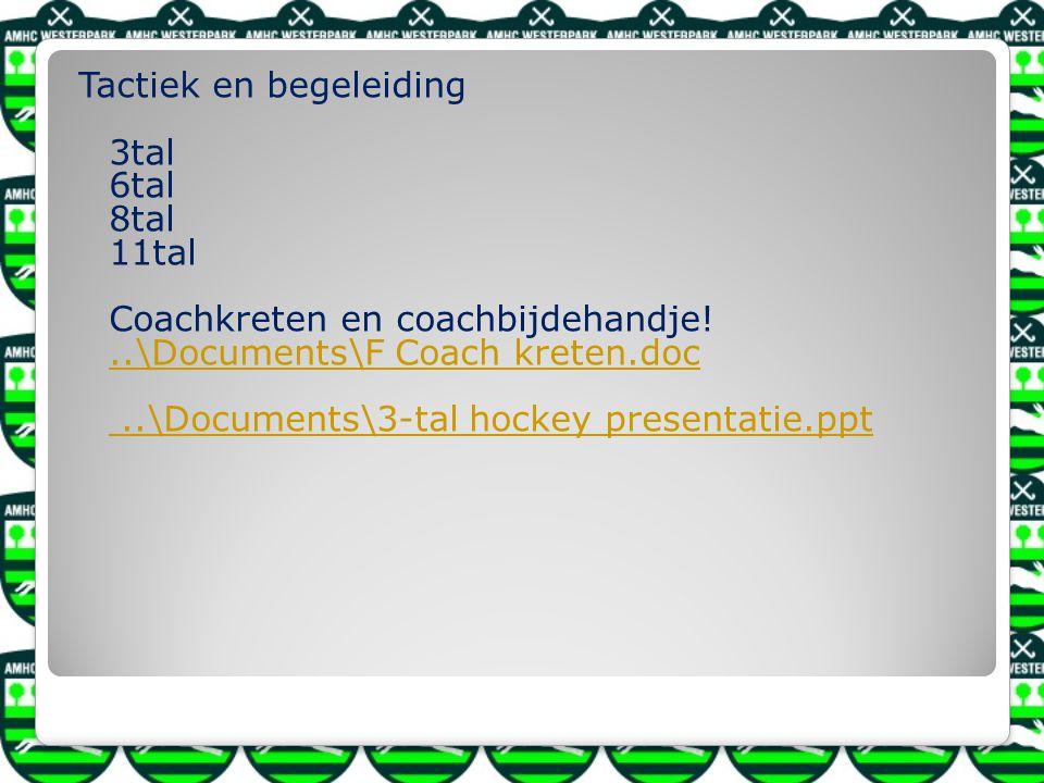 Tactiek en begeleiding 3tal 6tal 8tal 11tal Coachkreten en coachbijdehandje.
