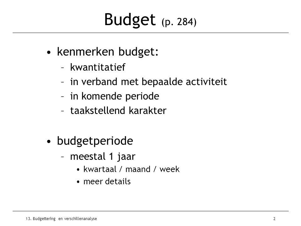 Budget (p. 284) kenmerken budget: budgetperiode kwantitatief