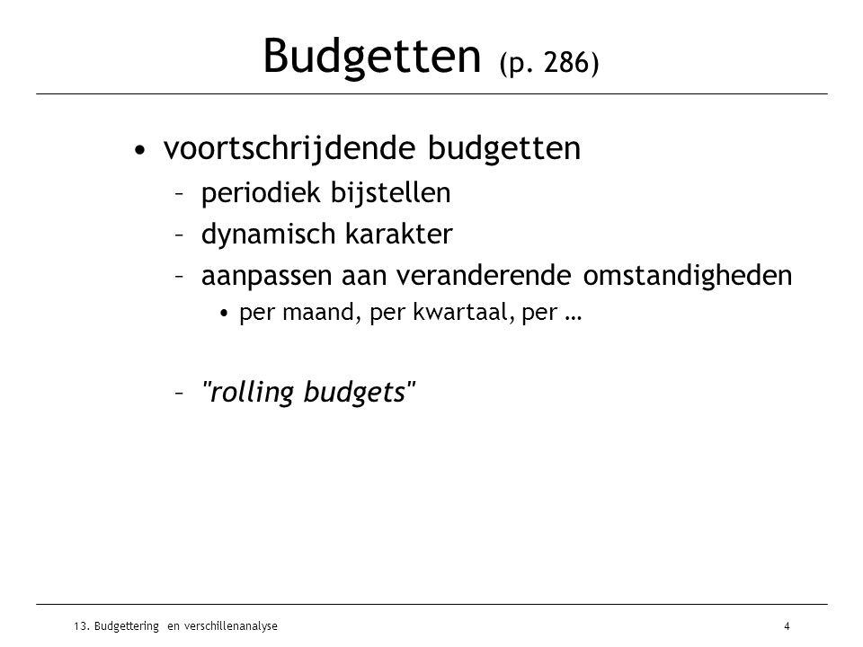 Budgetten (p. 286) voortschrijdende budgetten periodiek bijstellen