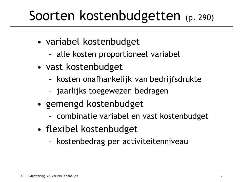 Soorten kostenbudgetten (p. 290)