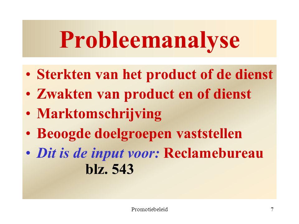 Probleemanalyse Sterkten van het product of de dienst
