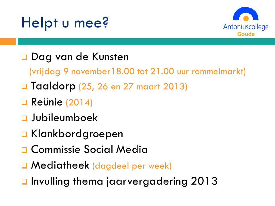 Helpt u mee Dag van de Kunsten Taaldorp (25, 26 en 27 maart 2013)