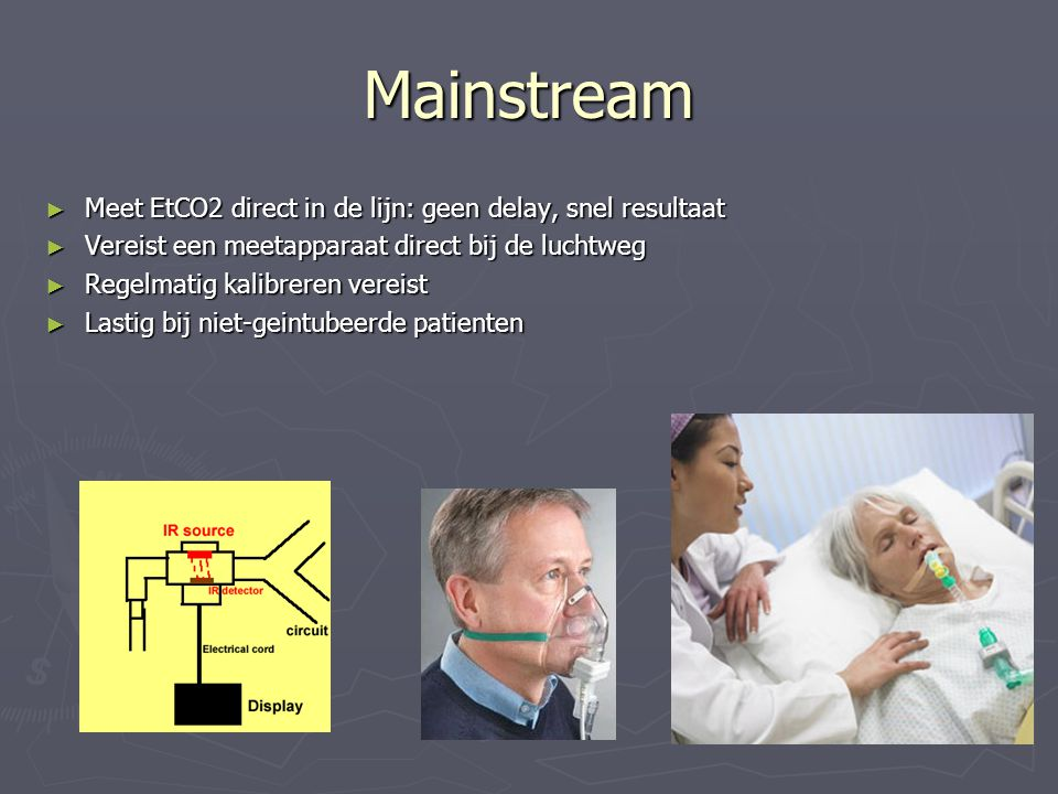 Mainstream Meet EtCO2 direct in de lijn: geen delay, snel resultaat