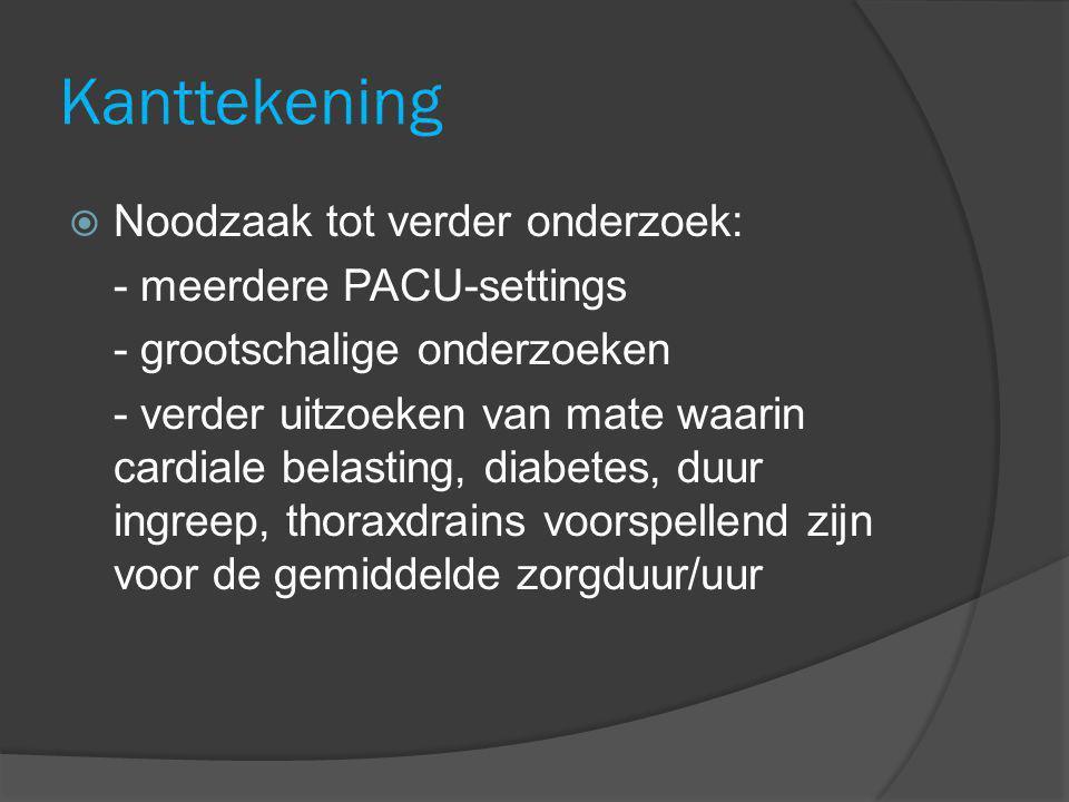 Kanttekening Noodzaak tot verder onderzoek: - meerdere PACU-settings