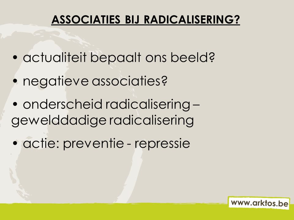 ASSOCIATIES BIJ RADICALISERING