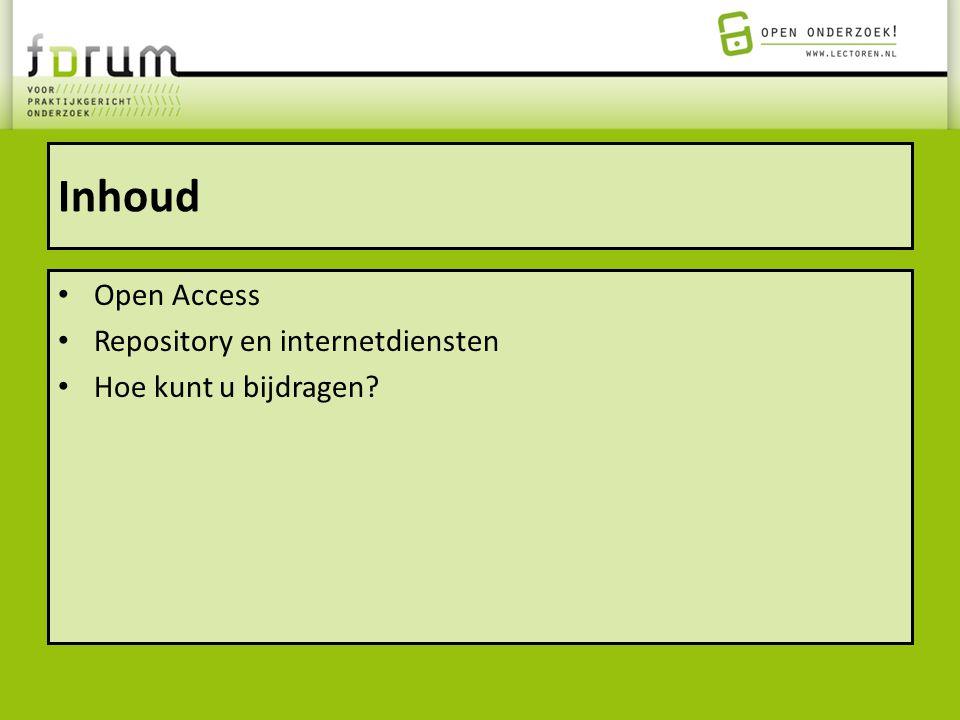 Inhoud Open Access Repository en internetdiensten