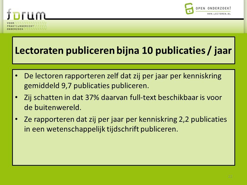 Lectoraten publiceren bijna 10 publicaties / jaar