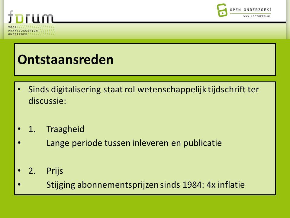 Ontstaansreden Sinds digitalisering staat rol wetenschappelijk tijdschrift ter discussie: 1. Traagheid.