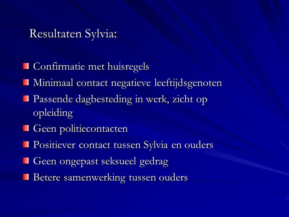 Resultaten Sylvia: Confirmatie met huisregels