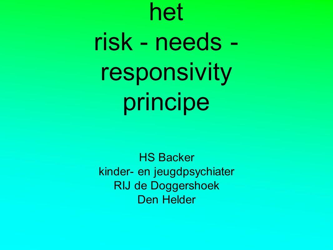 het risk - needs - responsivity principe