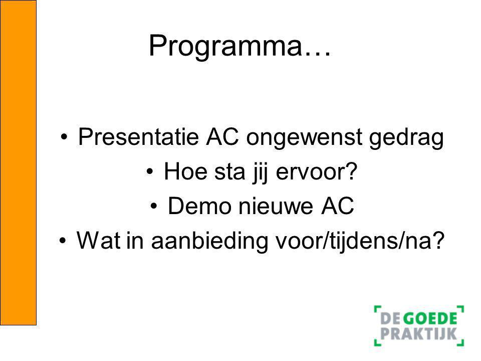 Programma… Presentatie AC ongewenst gedrag Hoe sta jij ervoor
