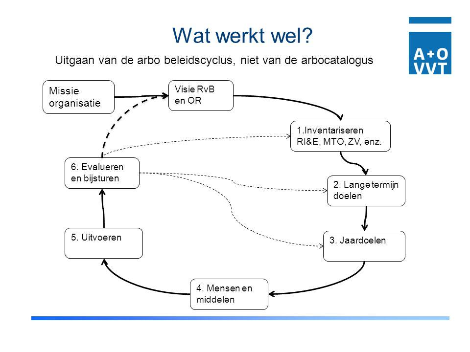 Wat werkt wel Uitgaan van de arbo beleidscyclus, niet van de arbocatalogus. Missie. organisatie.