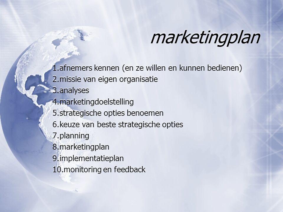 marketingplan 1. afnemers kennen (en ze willen en kunnen bedienen)