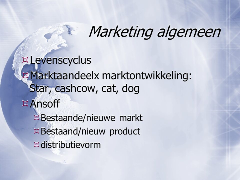 Marketing algemeen Levenscyclus