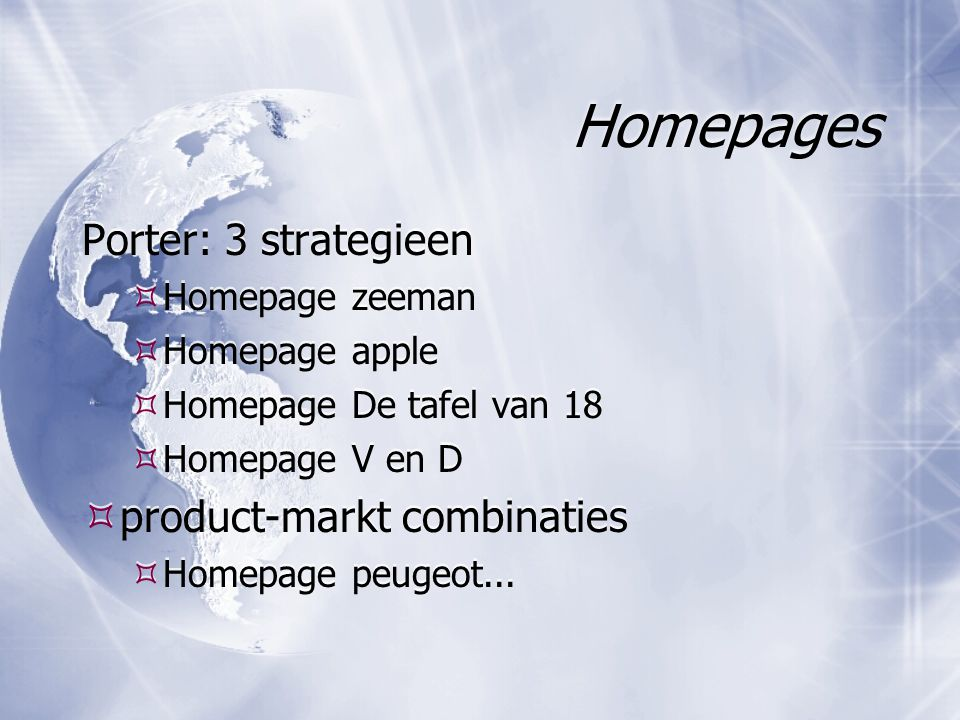 Homepages Porter: 3 strategieen product-markt combinaties
