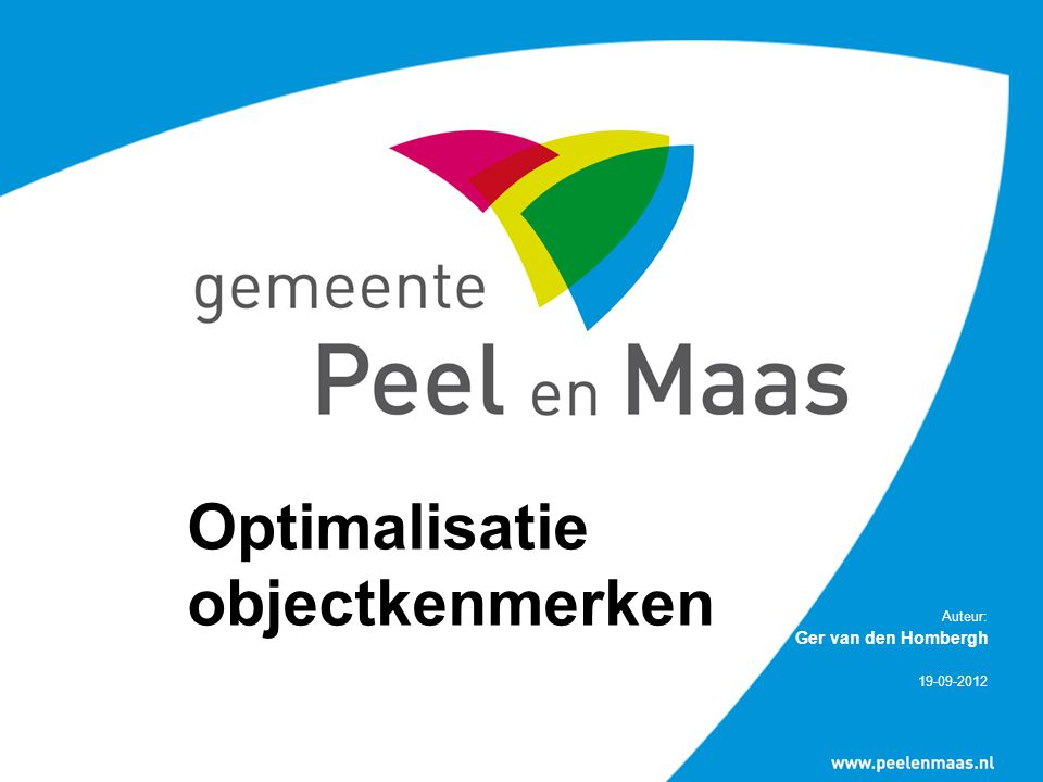 Optimalisatie objectkenmerken