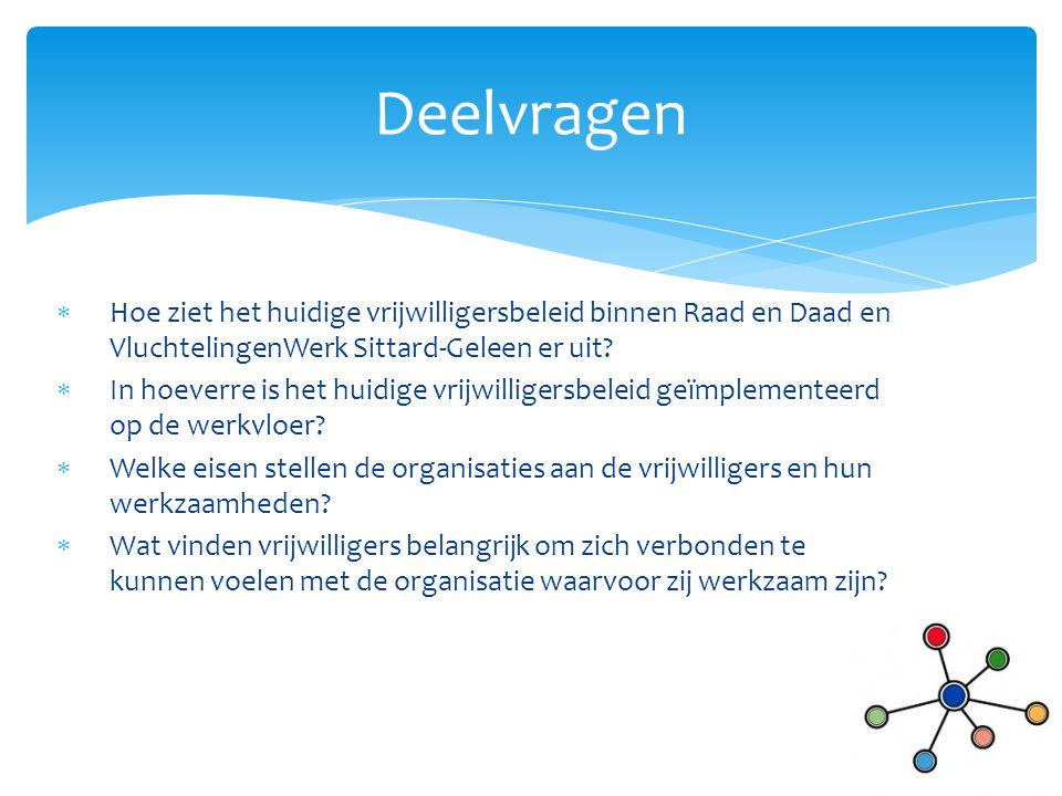 Deelvragen Hoe ziet het huidige vrijwilligersbeleid binnen Raad en Daad en VluchtelingenWerk Sittard-Geleen er uit
