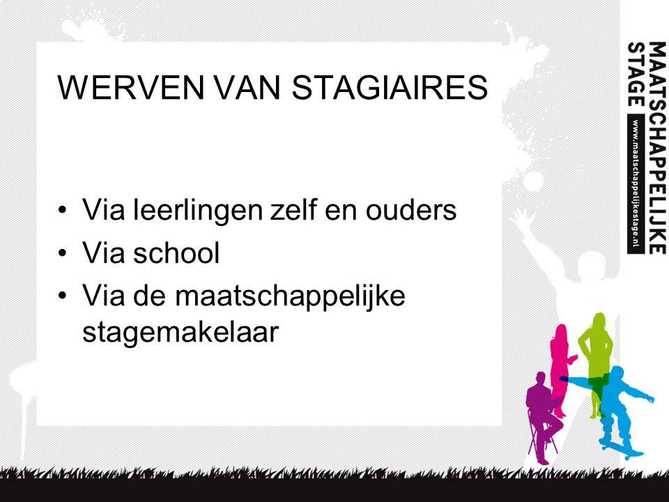 WERVEN VAN STAGIAIRES Via leerlingen zelf en ouders Via school