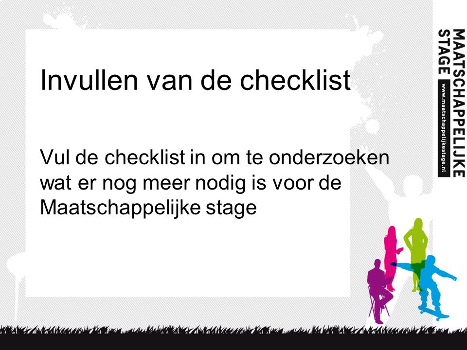 Invullen van de checklist