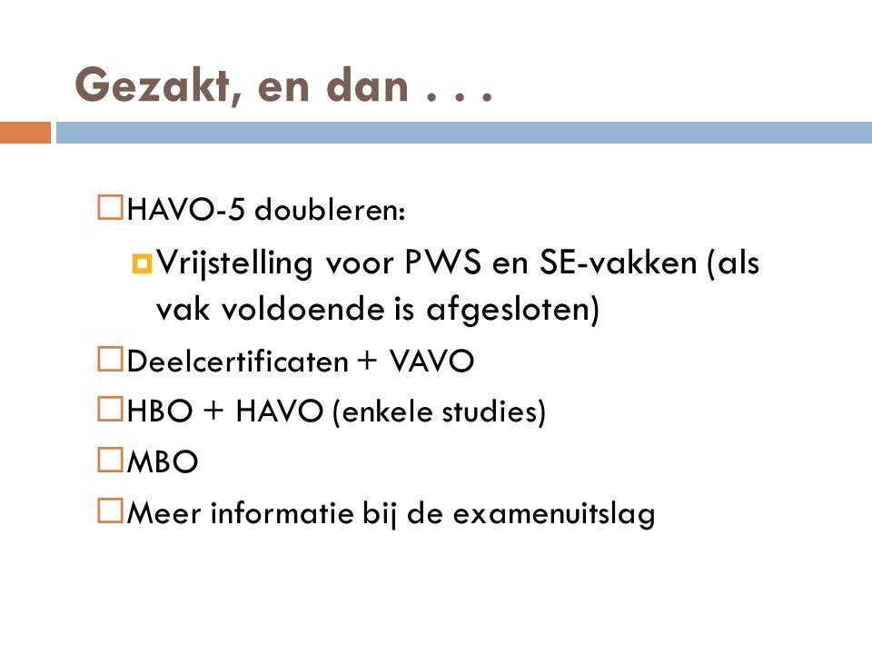 Gezakt, en dan . . . HAVO-5 doubleren: Vrijstelling voor PWS en SE-vakken (als vak voldoende is afgesloten)