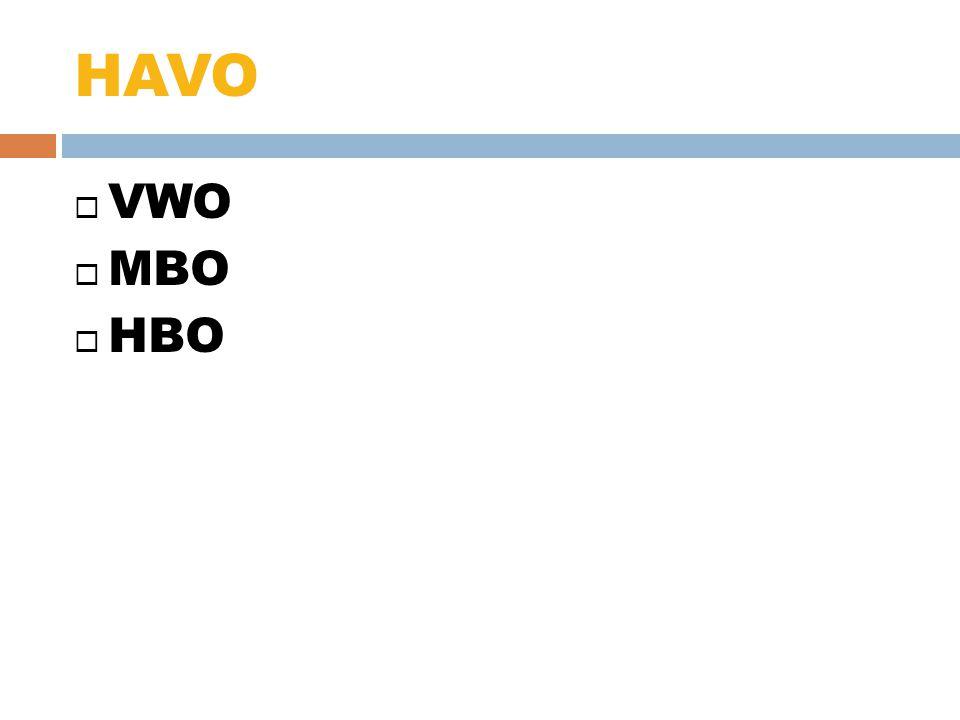 HAVO VWO MBO HBO