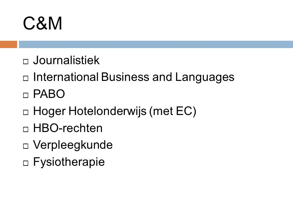 C&M Journalistiek International Business and Languages PABO