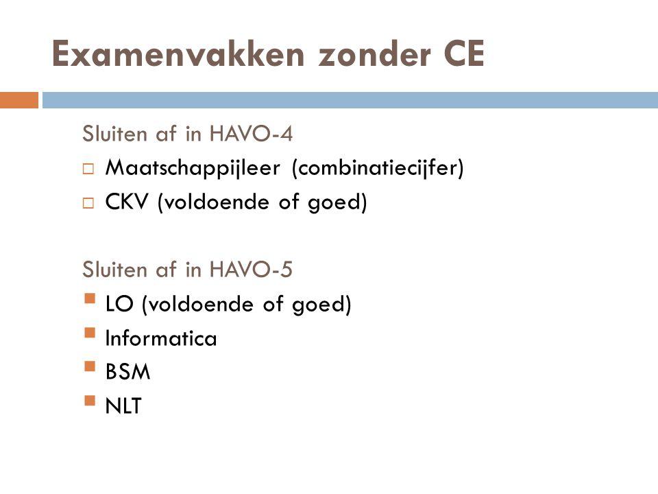 Examenvakken zonder CE