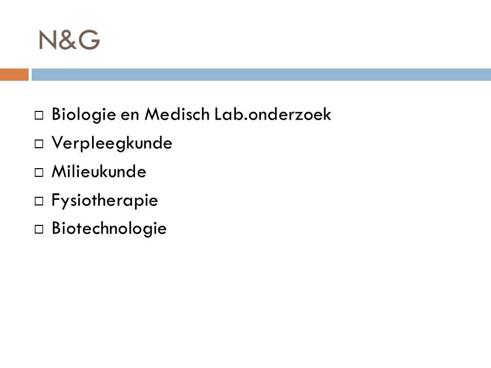N&G Biologie en Medisch Lab.onderzoek Verpleegkunde Milieukunde