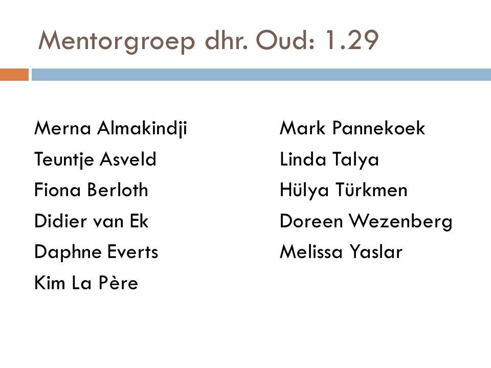 Mentorgroep dhr. Oud: 1.29