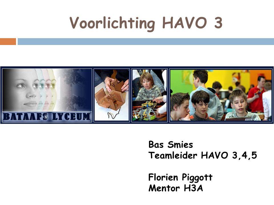 Voorlichting HAVO 3 Bas Smies Teamleider HAVO 3,4,5 Florien Piggott