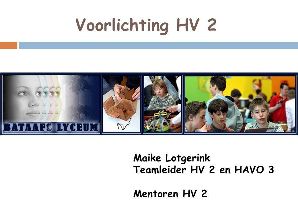 Voorlichting HV 2 Maike Lotgerink Teamleider HV 2 en HAVO 3